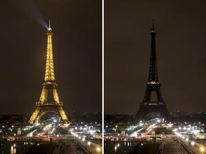 Sin luz. En París más de 300 lugares se apagaron como la Torre Eiffel.