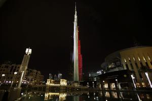 El edificio Burj Khalifa en Dubai (EAU), mostró su apoyo.