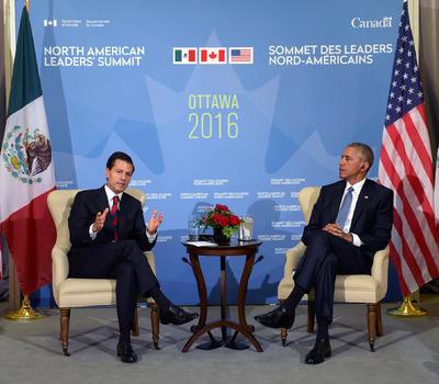 Los presidentes Peña Nieto y Barack Obama sostuvieron una reunión bilateral privada de 30 minutos.