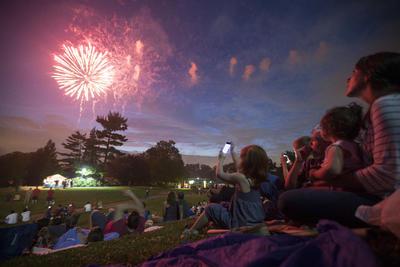 En Cincinatti, la pirotecnia adornó el cielo en el Ault Park.