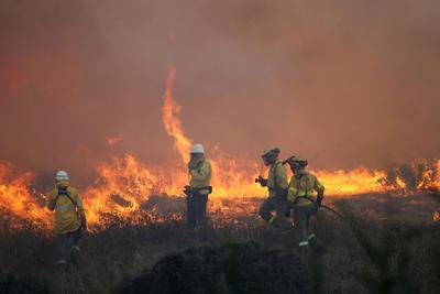 LA LÍNEA DE LA CONCEPCIÓN (CÁDIZ), .- Un grupo de bomberos trata de sofocar el fuego declarado esta tarde que ha obligado a desalojar a un total de 420 personas de un establecimiento hotelero de la zona de La Alcaidesa, en la Línea de la Concepción (Cádiz).