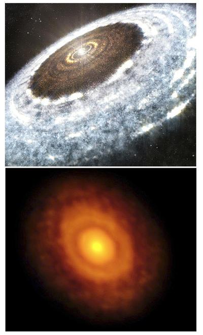 Combo de fotografías facilitadas por ALMA de la ilustración de la línea de nieve del agua alrededor de la joven estrella V883 Orionis, tal y como la ha detectado ALMA.