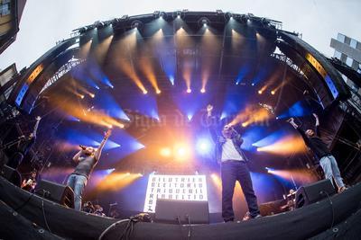 La banda suiza de rap Breitbild durante el Festival Moon and Stars hoy, 13 de julio de 2016, en la Piazza Grande de Locarno, Suiza.