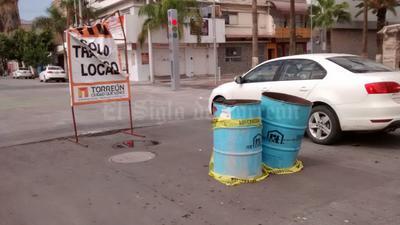 Las lluvias provocaron hundimientos en el Centro de Torreón.
