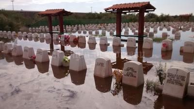 El panteón Jardines del Carmen quedó inundado.