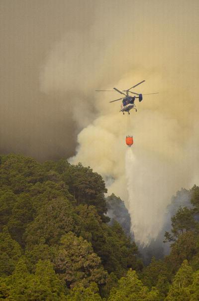 Un helicóptero descarga agua sobre el fuego que comenzó ayer en el municipio palmero de El Paso y que continúa activo hoy lo que ha obligado a evacuar a unas 700 personas como medida preventiva.