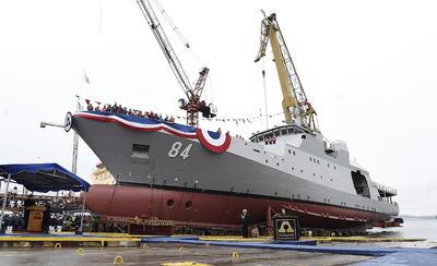 Fotografía cedida por la Presidencia de Chile, del patrullero oceánico Cabo Odger, el cuarto que ASMAR desarrolla para la Armada de Chile y que cuenta con capacidades para desempeñar el rol de policía marina, y también con un casco reforzado para navegar en climas fríos.