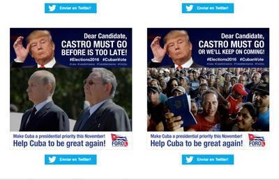 El Foro cubano por los Derechos y Libertades lanzó hoy una campaña pública en las redes sociales para reclamar a los candidatos a la Casa Blanca Hillary Clinton y Donald Trump que pongan a Cuba en sus agendas como tema prioritario.