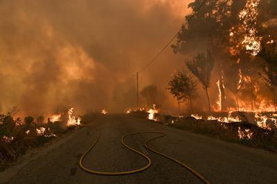 Bomberos trabajan para extinguir el fuego en un incendio forestal hoy, lunes 8 de agosto de 2016, en Vila Nova, Viseu (Portugal).