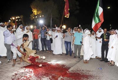 Fotografía facilitada, que muestra a varios kuwaitíes mientras sacrifican un camello para celebrar la llegada del tirador de 49 años Fehaid Aldeehani, a Kuwait ayer, tras ganar la medalla de oro en la prueba de doble trap de tiro.