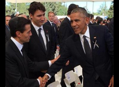 Barack Obama y Peña Nieto en el homenaje a Shimon Peres, ganador del Premio Nobel de la Paz