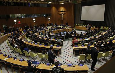 NUEVA YORK (NY, EE.UU.).- Vista general durante la cumbre sobre refugiados y migrantes en la ONU, en la sede las Naciones Unidas en Nueva York (NY, EE.UU.). La reunión se celebra en vísperas de la Asamblea General de la ONU. EFE