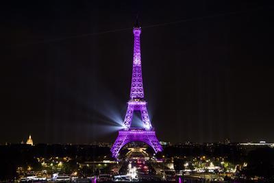 """PARÍS (FRANCIA). - La torre Eiffel se ilumina, de rosa para el lanzamiento de la campaña """"Octubre Rosa"""" en París (Francia). La campaña de salud internacional anual se lleva a cabo para aumentar la conciencia sobre el cáncer de mama. EFE"""