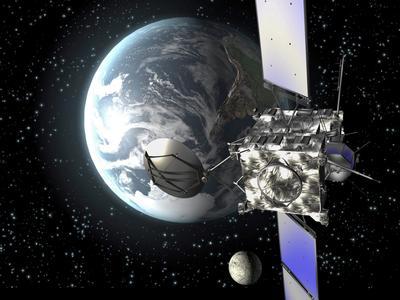 ESPACIO.- Imagen facilitada por la Agencia Espacial Europea (ESA) que muestra una animación por ordenador que muestra la snnda Rosetta durante su acercamiento a la Tierra. La Agencia Espacial Europea (ESA) presenta, los momentos científicos culminantes de la misión Rosetta, que finaliza el 30 de septiembre con un aterrizaje controlado sobre el cometa 67P. EFE