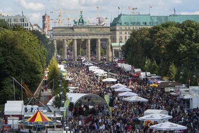 SKM1522 BERLÍN (ALEMANIA), 03/10/2016.- Miles personas celebran la reunificación alemana delante de la Puerta de Brandenburgo en Berlín, Alemania, hoy 3 de octubre de 2016. Alemania celebra hoy el 26 aniversario de su reunificación bajo la sombra del crecimiento de la xenofobia y en medio de grandes medidas de seguridad. EFE/Monika Skolimowska