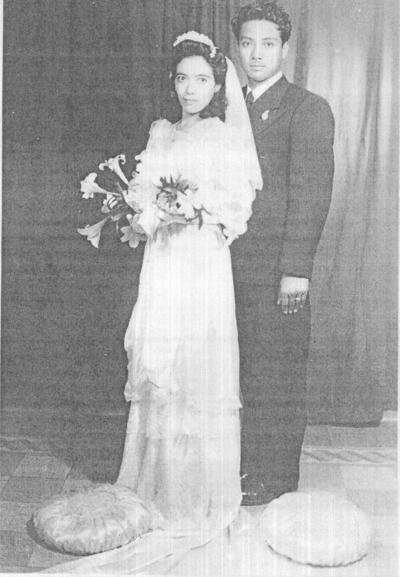 16102016 JCarlota Torres Montelongo y Reyes Cervantes Rodríguez en su boda el 22 de noviembre de 1947.