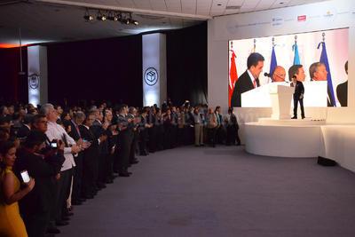 Para la inauguración, acudió el secretario de Economía, Ildefonso Guajardo Villarreal, quien en su intervención señaló que el comercio internacional sólo tiene sentido si todos tienen beneficios, ya que éste pasa por un momento difícil.
