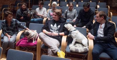 """LODZ (POLONIA).- Perros con sus cuidadores asisten a ver la película """"The Heart of a Dog"""", dirigida por Laurie Anderson, en el Lodz Cinematograph, en Lodz (Polonia). A los animales se les ofrecieron cubos de agua durante la función. EFE"""