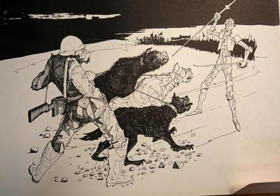 """LA PAZ (BOLIVIA).- Reproducción fotográfica permitida por la Casa Museo Solón de una de las obras de la serie """"El Quijote y los perros"""", difundida en 1974 durante la dictadura de Hugo Bánzer, en La Paz (Bolivia). Los centenares de Quijotes dibujados y pintados por el boliviano Walter Solón fueron una lanza contra el olvido cuando la dictadura del militar Hugo Bánzer hizo desaparecer en 1972 al hijo de su esposa, José Carlos Trujillo. EFE"""