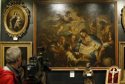 """MADRID.- Vista de la obra """"Adoración de los Pastores"""" de Luca Giordano, que será subastado hoy en la Sala Durán de Madrid. EFE"""