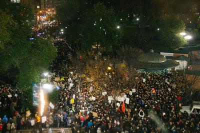 Cientos se reunieron contra el magnate en Nueva York.