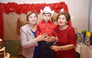 07122016 UN CUMPLE FELIZ.  Iker con sus abuelitas, Juanita Calleros y Amabilia Hernández.