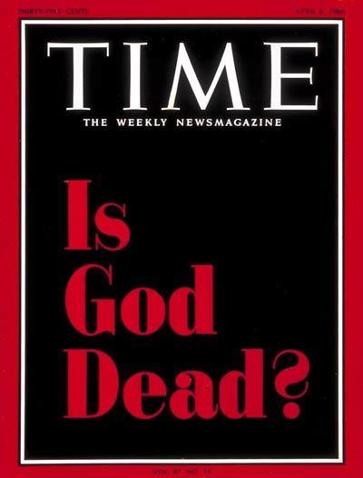 """En abril de 1966, una portada completamente negra con letras rojas alzaba la pregunta """"God is Dead?"""" en la portada de Time, creando la ira y controversia de la sociedad y de grupos religiosos."""