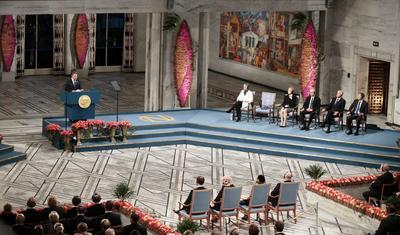 El presidente colombiano Juan Manuel Santos recibió el Nobel de la Paz.