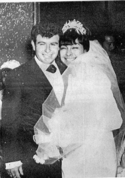 11122016 Eduardo Ugarte y María del Refugio Ríos Favela el día de su boda el 31 de diciembre de 1966, por lo que están cerca de celebrar su 55 aniversario.