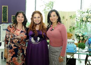 12122016 FIESTA DE CANASTILLA.  Dora con Dora Elia Guerra y María Guadalupe de la Garza en su baby shower.