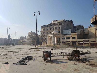 Zona de Alepo completamente vacía a causa de enfrentamientos y evacuaciones de familias.