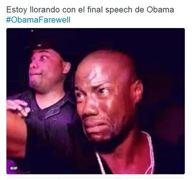 Los tuiteros usaban el hashtag #ObamaFarewell para publicar sus sentimientos en forma de memes ante discurso del presidente de EU.