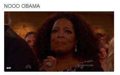 Los famosos como Oprah, no aceptan aún la salida de Obama, según tuiteros.