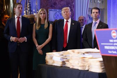 La reunión con medios tuvo lugar en la Trump Tower, en Nueva York.