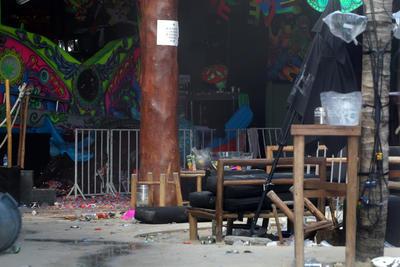 Vista general hoy, lunes 16 de enero de 2017, de las afueras de la discoteca en el centro turístico de Playa del Carmen