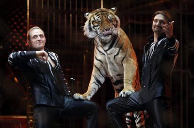 Los hermanos Zapashny, ganadores del Premio payaso de plata, actúan durante la ceremonia de la edición 41 del Festival Internacional de Circo de Monte-Carlo.