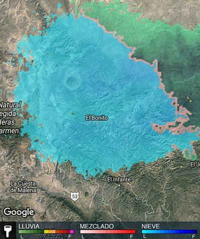 El Sistema Meteorológico Nacional pronostica para este día caída de nieve y aguanieve en zonas montañosas de este estado, así como de Durango, Chihuahua y Nuevo León.