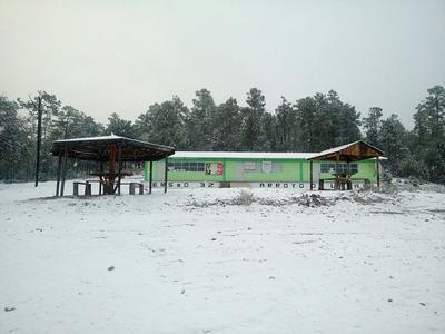 Postal del plantel EMSaD 32 en la comunidad de Lajas, municipio de Guanaceví, nevado durante la séptima tormenta invernal.