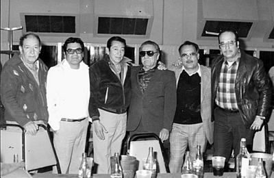 19022017 Fiesta de aniversario del Sindicato Sección #9 de Ferrocarrileros, el 24 de enero de 1984. De izquierda a derecha: Enrique Veloz, Toño Zamora, Fausto Ramos, Efrén Camacho, Lencho García y Juan Álvarez.