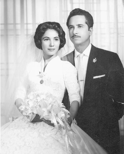 19022017 Teresa López Espino y C.P. Lauro Alonzo Márquez se casaron el 21 de febrero de 1960.