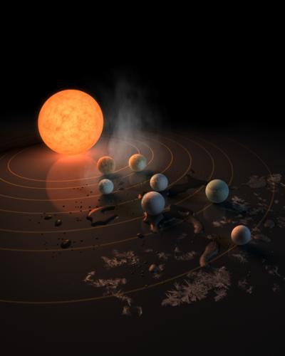 """Los seis planetas más cercanos a la estrella, probablemente rocosos, pueden tener una temperatura en la superficie de entre 0 y 100 grados, el rango en el que puede haber agua líquida, y tres de ellos están en la llamada """"zona habitable"""", por lo que son candidatos especialmente prometedores para albergar vida."""