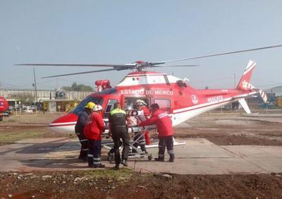 Cuatro lesionados fueron trasladados vía aérea al Hospital de Altas Especialidades de Zumpango.