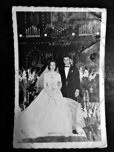 05032017 Dolores Revueltas de Martínez y Jerson Martínez Guzmán el día de su boda el 23 de febrero de 1957.