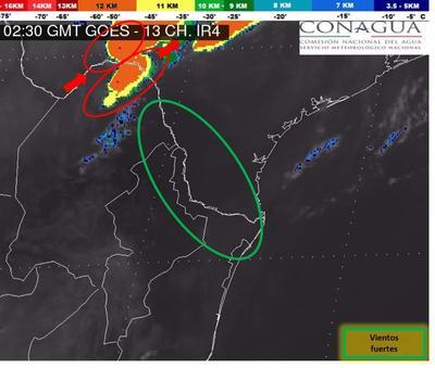Durante la tarde del martes, el Sistema Meteorológico Nacional emitió una alerta de posibilidad de tormenta eléctrica con probabilidad de formación de tornados para la región norte de Coahuila.