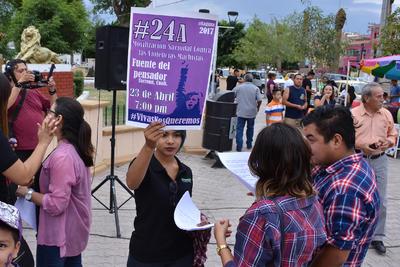 'En el pronunciamiento contra las violencias machistas, las mujeres de La Laguna, no queremos muerta a ninguna, en vista del aumento de feminicidios en La Laguna, especialmente en la Región Lagunera del Estado de Durango', manifestaban.