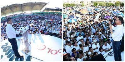 El PRI y el Frente por la Dignidad de Coahuila encabezaron actos masivos en Torreón y Saltillo.