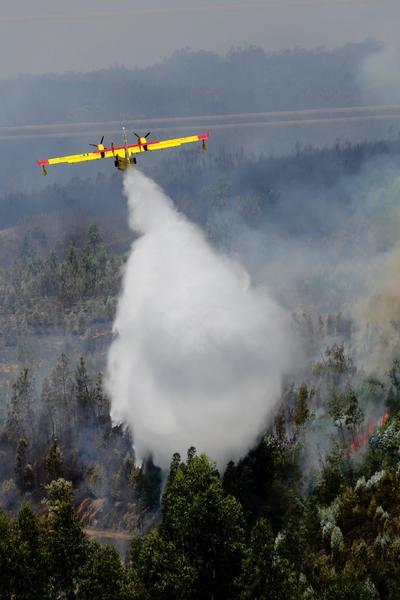 En las tareas de extinción participan varios medios aéreos portugueses y dos aviones españoles.