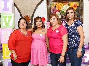24062017 BABY SHOWER.  Perla Alba con Karina Bruno, Yolanda Alatorre y Astrid Alba.