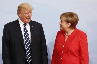 La canciller alemana junto al presidente estadounidense Donald Trump.