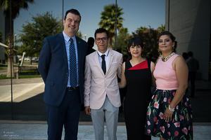 12072017 Carlos Bejos Acevo, director general, Pineda Damián, director de Plata Laguna, Yazmín Sánchez Trejo, madrina de generación, y Alejandra Barajas.